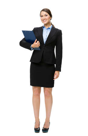 Full-length portrait of business woman with folder, isolated on white. Concept of leadership and success photo