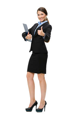 full body shot: Full-length portrait of thumbing up businesswoman with folder, isolated on white. Concept of leadership and success