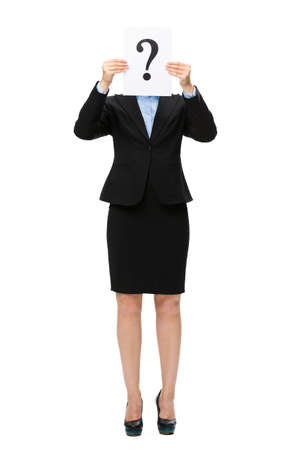 Full-length portrait of businesswoman handing question mark in front of face, isolated on white. Concept of problem and solution photo