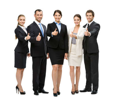 Full-length portrait of thumbing up group of business people, isolated on white. Concept of teamwork and cooperation photo