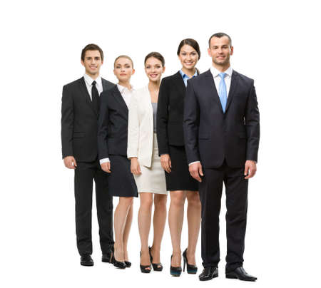 Full-length portrait of group of managers, isolated. Concept of teamwork and cooperation photo