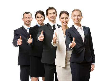 Portrait of thumbing up group of business people, isolated on white. Concept of teamwork and cooperation photo