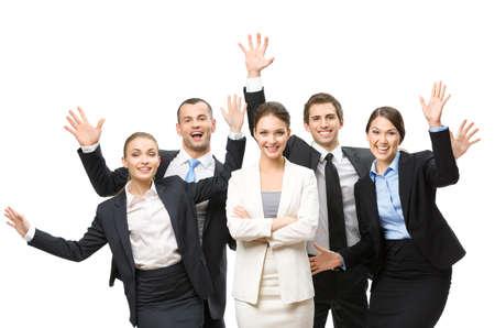 mani incrociate: Gruppo di manager felici con le mani in alto, isolato su bianco. Concetto di lavoro di squadra e cooperazione