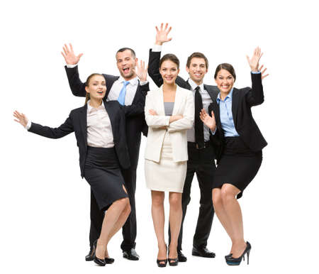 long shot: Full-length portrait of group of happy managers with hands up, isolated on white. Concept of teamwork and cooperation