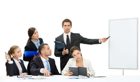 demonstrate: Manager showing something on screen to the group of managers, isolated on white. Concept of teamwork and cooperation Stock Photo