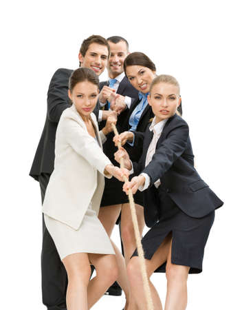 woman rope: Group of managers pull the rope, isolated on white. Concept of teamwork and promotion