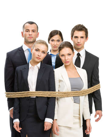 woman tied: Group of managers tied with rope, isolated on white. Concept of routine work and slavery