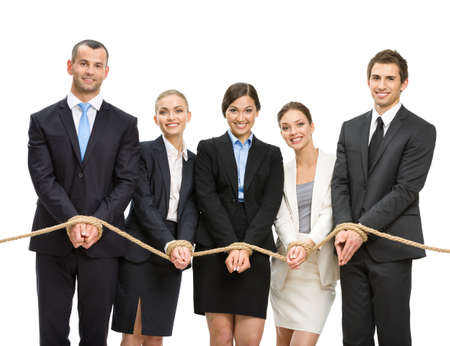 servitude: Hands of group of managers are tied with rope, isolated on white. Concept of routine work and slavery