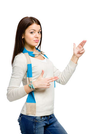 Teenager hand guns gesturing wears colored scarf, isolated on white photo