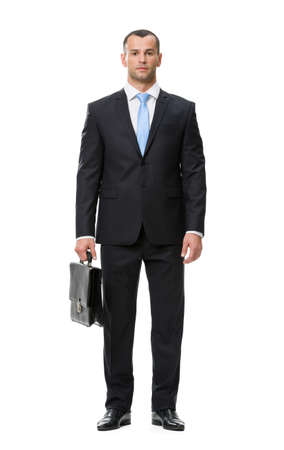 white body suit: Full-length portrait of business man with case, isolated on white. Concept of leadership and success