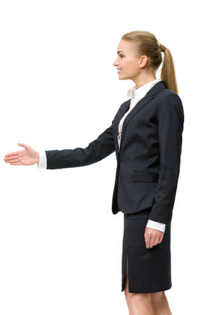 Profile of businesswoman handshaking, isolated on white. Concept of leadership and success photo