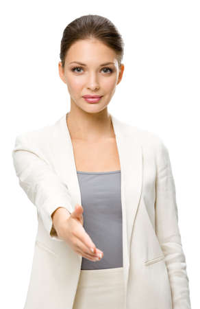 Half-length portrait of business woman handshake gesturing, isolated. Concept of leadership and success photo