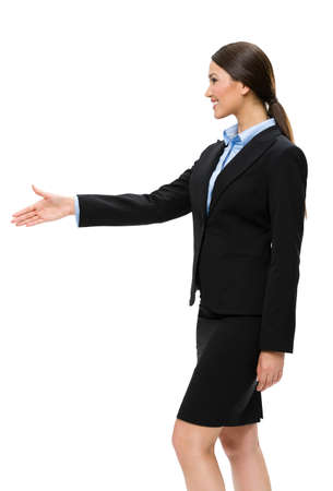Half-length profile of businesswoman handshake gesturing, isolated. Concept of leadership and cooperation photo