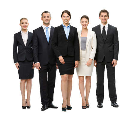 professionals: Full-length portrait of group of business people, isolated. Concept of teamwork and cooperation