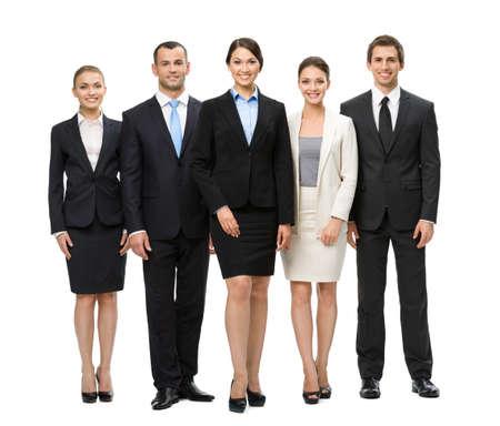 Full-length portret van de groep van mensen uit het bedrijfsleven, geïsoleerd. Concept van teamwork en samenwerking