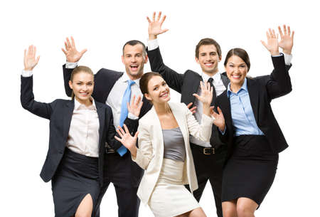 asian business team: Group of happy executives with hands up, isolated. Concept of teamwork and cooperation Stock Photo