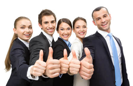 thumb up: Group of thumbing up business people, isolated on white. Concept of teamwork and cooperation Stock Photo