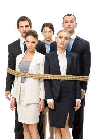 hair tied: Group of business people tied with rope, isolated on white. Concept of routine work and slavery