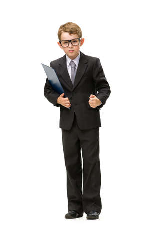 Full-length portrait of little businessman in glasses keeping folder, isolated on white. Concept of leadership and success Stock Photo - 22746859