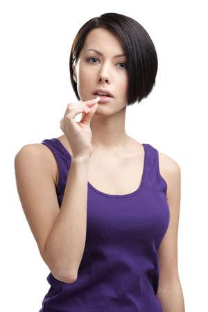 Woman takes pills, isolated on white. Prescription medication Stock Photo