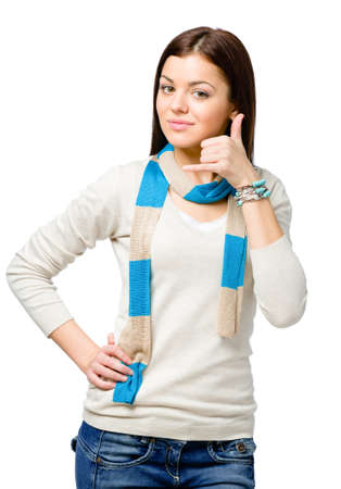 Teen hand phone gesturing wears colored scarf, isolated on white photo