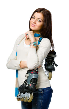 Half-length portrait of teenager keeping roller skates and wearing colored scarf, isolated on white Stock Photo - 22809165