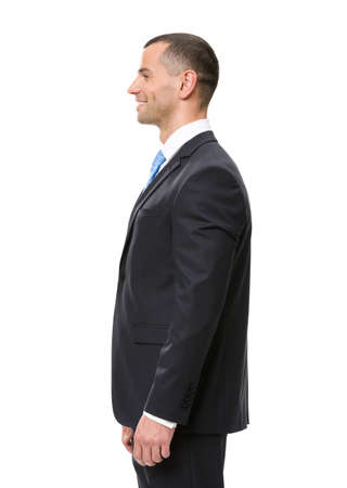 side job: Profile of business man wearing black suit and blue tie, isolated on white Stock Photo