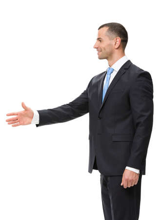 man side: Profile of businessman hand shake gesturing, isolated on white