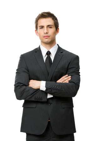 white body suit: Half-length portrait of business man with crossed hands, isolated on white background. Concept of leadership and success Stock Photo