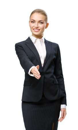 Half-length portrait of handshake gesturing business woman, isolated on white. Concept of leadership and success photo