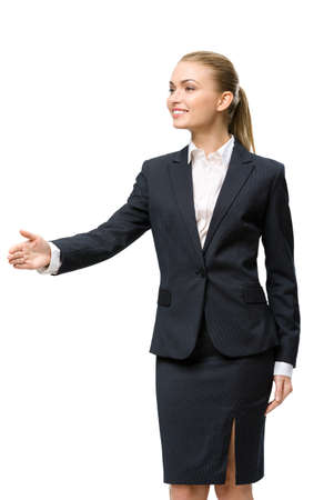 Half-length portrait of businesswoman handshake gesturing, isolated. Concept of leadership and success photo