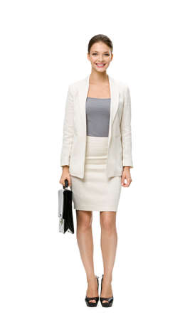 suit case: Full-length portrait of businesswoman with case, isolated on white. Concept of leadership and success