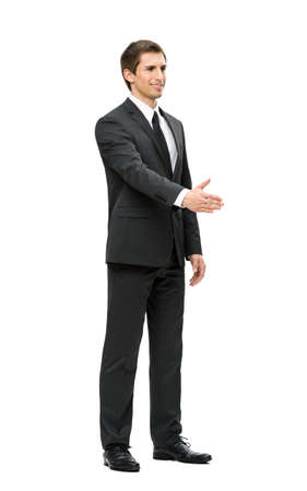 body silhouette: Full-length portrait of business man handshake gesturing, isolated on white. Concept of leadership and cooperation