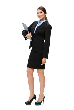 Full-length portrait of businesswoman with folder, isolated on white. Concept of leadership and success photo