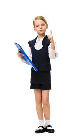 Full-length portrait of little businesswoman with folder attention gesturing, isolated on white. Concept of leadership and success photo