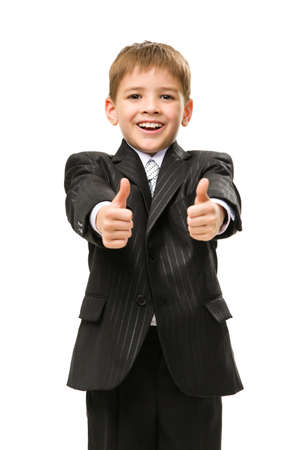 Half-length portrait of thumbing up little manager, isolated on white. Concept of leadership and success photo