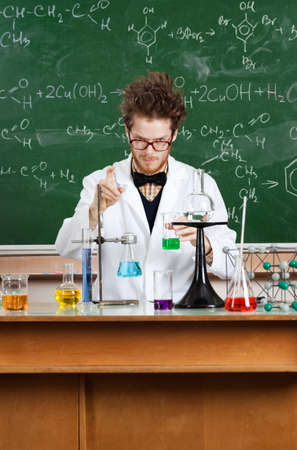 Crazy professor works in his laboratory Stock Photo - 23371966