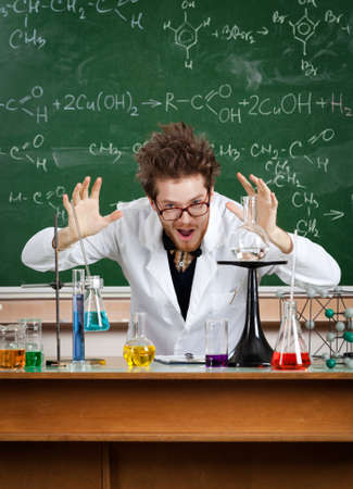 demonstrate: Mad professor gestures a large amount of something Stock Photo