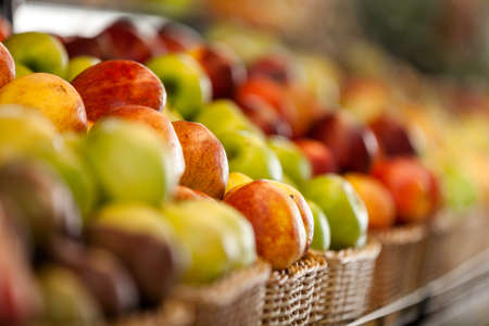 Close up of fruits in the store. Concept of healthy food