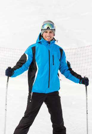 Portrait of male skier. Concept of extreme winter sports photo