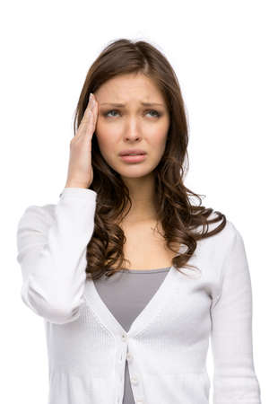 Half-length portrait of woman touching her head, isolated on white. Concept of headache and high temperature