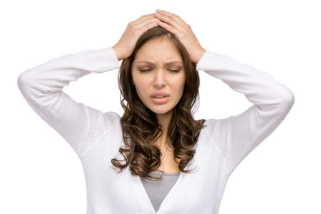 hair problem: Portrait of woman with closed eyes putting hands on head, isolated on white. Concept of headache and high temperature Stock Photo