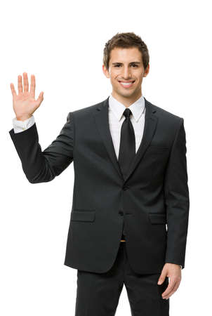 Half-length portrait of waving hand businessman, isolated on white. Concept of leadership and success photo