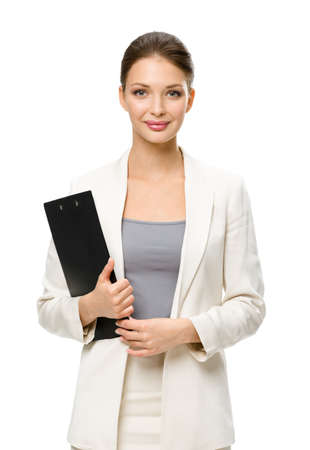 Half-length portrait of businesswoman handing black documents, isolated on white. Concept of leadership and success