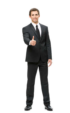 Full-length portrait of business man who thumbs up, isolated on white. Concept of leadership and success photo