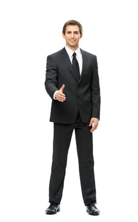 Full-length portrait of business man handshake gesturing, isolated. Concept of leadership and cooperation photo