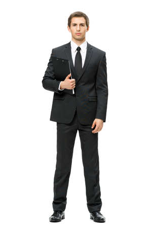 white body suit: Full-length portrait of business man with folder, isolated on white. Concept of leadership and success