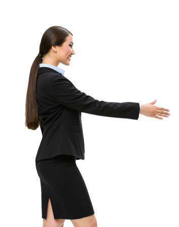 long brown hair: Half-length profile of businesswoman handshake gesturing, isolated on white. Concept of leadership and cooperation