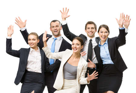 fun at work: Group of happy business people with hands up, isolated on white background. Concept of teamwork and cooperation