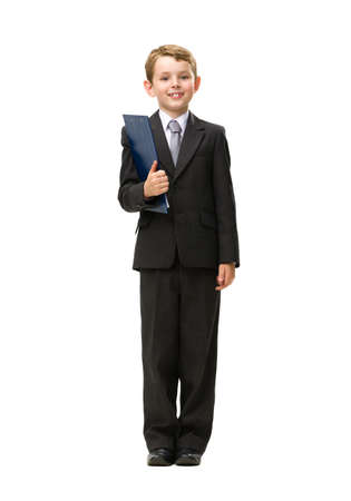 Full-length portrait of little businessman keeping folder, isolated on white. Concept of leadership and success photo